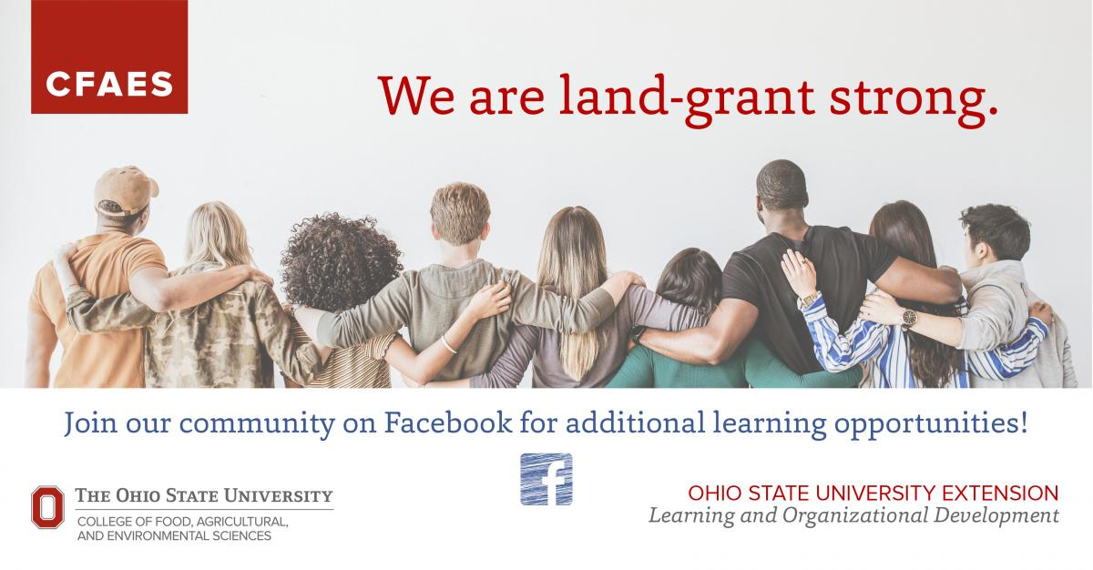 Diverse people with arms each other inviting people to join LOD Facebook group