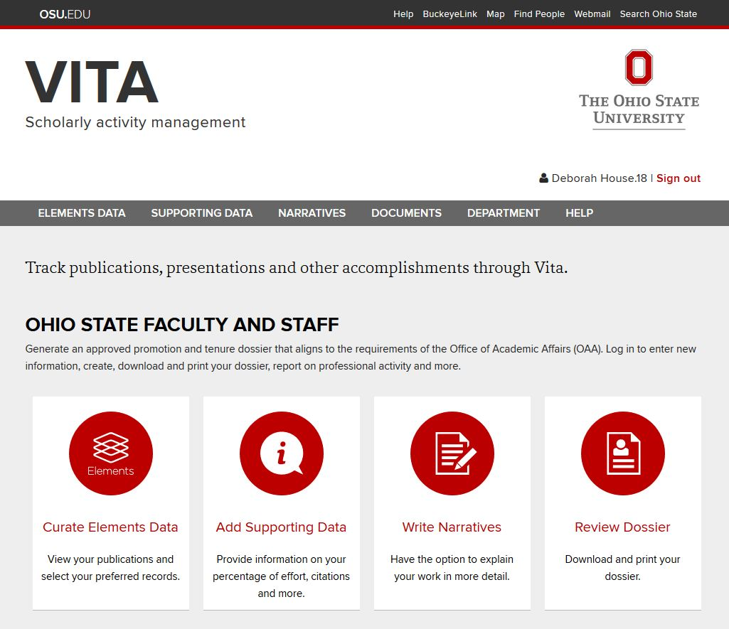 VITA Scholarly activity management. Image Courtesy of the Office of Learning and Organizational Development.