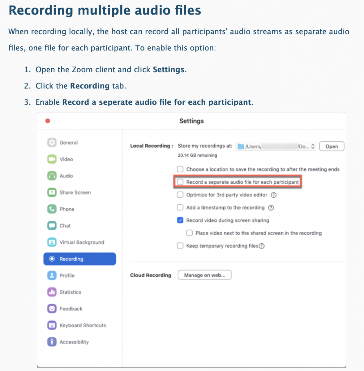 Instructions for recording multiple audio tracks in Zoom