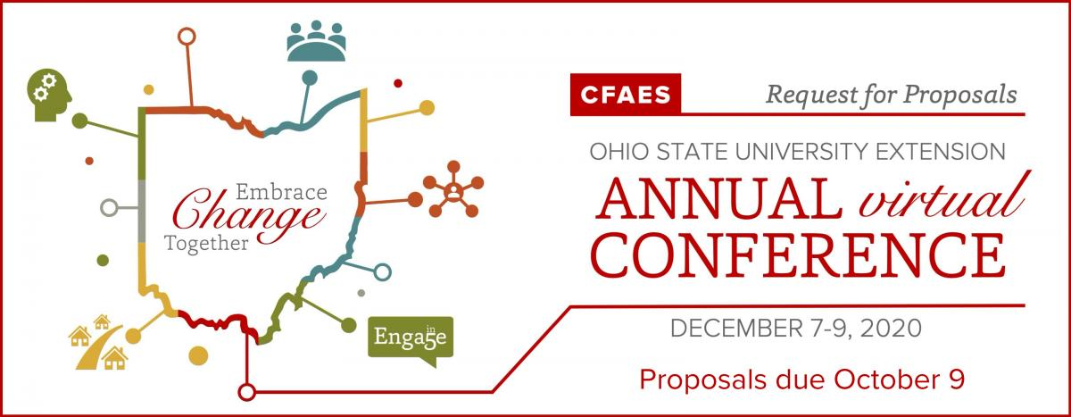 """Banner artwork for conference request for proposals. Contains the conference theme """"Embrace Change Together"""" within the outline of the state of Ohio. The conference tracks are visualized with icons around the outside of the Ohio outline. The Ohio State University Extension Annual Virtual Conference will be held December 7-9, 2020 and proposals are due October 9."""