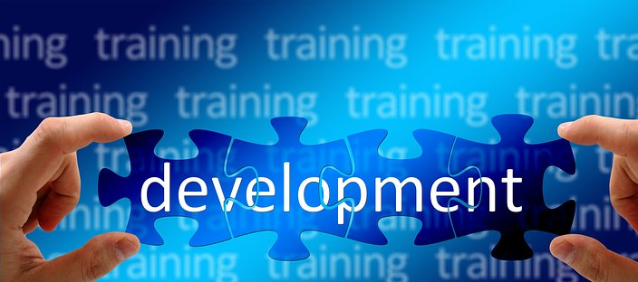 the word development in the forefront; training in the background